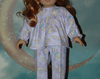Flannel, pajamas, sleepwear, pants, top, 18 inch doll, doll clothes