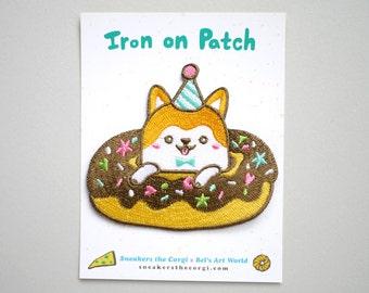 Donuts Corgi Iron On Patch