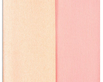 New Color! LImited Edition Gloria Doublette Double Sided Crepe Paper For Flower Making Made In Germany Cream & Pale PInk # 3501
