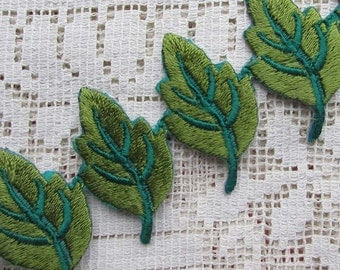 """Fancy 1 Yard Green Leaf Embroidered Embroidery Trim 1-1/2"""" Iron On Or Sew"""