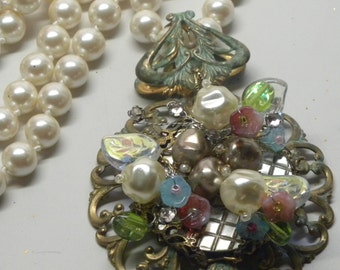 """Carved MOP Baroque Woodland Blue Pink Opaline Floral Filigree PENDANT 40"""" Glass Pearl Flapper NECKLACE  Miriam Haskell Elements Wedding"""