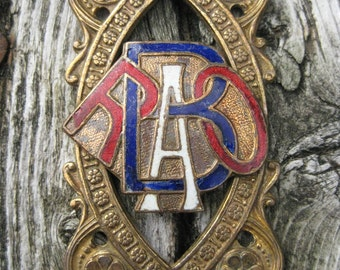 Vintage RAOB Antediluvian Order of the Buffalo Enamel gorget link brass no 2