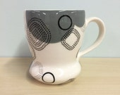 handmade porcelain mug: Dot Dot Rounded Square cup by Meredith Host