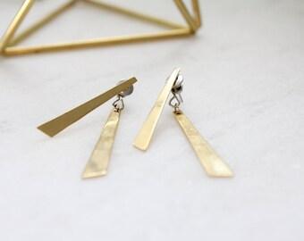 vintage. gold earrings. drop. geometric. pierced. slanted. staight style. minimalist.