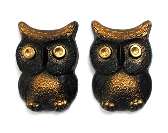 Pair of Chalkware Owls with Gold Accents Ready to Hang!