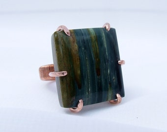Gary Green Jasper Ring, petrified wood ring, Larsonite ring, McDermitt jasper, bog wood, swamp wood, green stone ring, copper ring, size 9