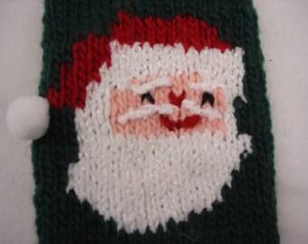 Santa Claus Hand Knit Christmas Stocking Personalize Stocking Custom Stocking