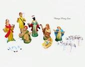 Plastic Vintage Nativity Scene Figurines / Christmas Figures