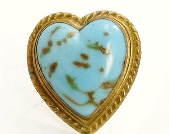 Antique Turquoise Blue & Aventurine Heart Brooch