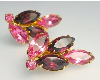 Vintage Pink & Amethyst Rhinestone Clip Earrings