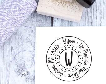 Custom Address Stamp - Round Dottie, Monogram Stamp, Wedding Gift, Housewarming Gift, Wooden Stamp, Self Inking Stamp, Rubber Stamp