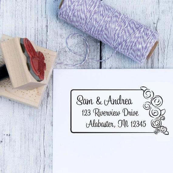 Custom Address Stamp - Wedding Bouquet, Wedding Stamp, Roses, Custom Address Stamp, Wooden Stamp, Self Inking Stamp, Rubber Stamp