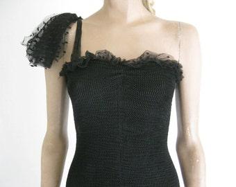 Vintage 80's Black  Bodycon Bandage Dress. Size Small