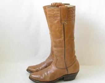 Vintage 70's Brown Leather  Cowboy Boots. Size 6 1/2 Women's