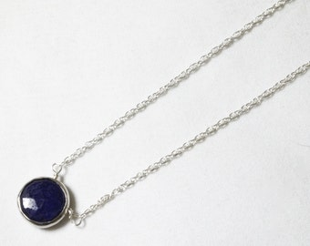 Blue Sapphire Necklace Genuine Sapphire Necklace Sterling September Birthstone Real Sapphire Necklace Precious Gemstone BZ-P-105-Sapph/s