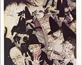 PRINT SALE 20% OFF Vintage As I Was Going to St Ives Nursery Rhyme  Bookplate Illustration Print by Arthur Rackham, Witches and Black Cats,