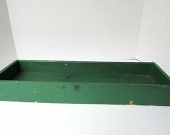 Vintage 1950 Wooden Window or Outdoor Garden  Box for Plants or Garden Tools in Old Green Paint