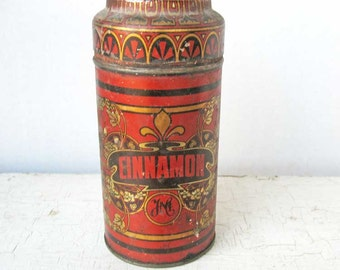 Antique Spice Tin,  1890's Vintage Lithographed Tin Cinnamon JMC Spice Tin w Lid, Red, Black, Gold Decorations, Collector Spice Tin