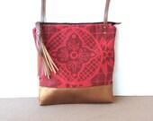 weekdayer - large • crossbody bag • neon pink and deep red - geometric floral print - screenprint - iPad bag - metallic bronze • talavera