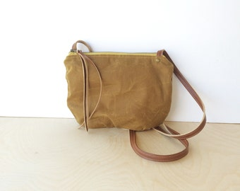 date purse  • crossbody bag - waxed canvas • bourbon brown waxed canvas - gifts under 50 - simple cross body bag • scout