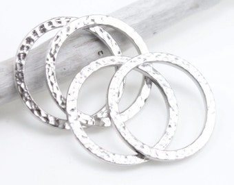 """1"""" Large Hammertone Textured Metal Rings Bright Rhodium Silver Ring Link Connectors TierraCast Flat Hammered Ring Charms (P488)"""