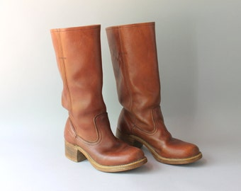 1970s Campus Boots / Vintage 70s Thom McAn Whiskey Leather Boots / 70s Tall Riding Boots