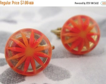 SALE vintage embedded lucite orange starburst flower earrings - j5242