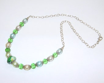 Pastel Pearls & Green Glass Beaded Chain Necklace OOAK