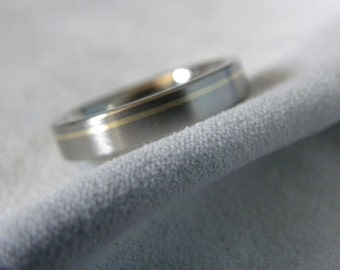 Ring or Wedding Band, Titanium with Offset Yellow Gold Pinstripe