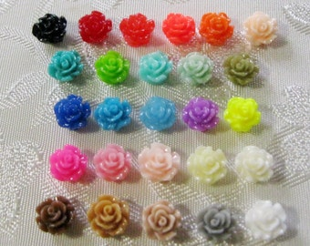 Tiny Drilled Resin Rose Flower Beads with Hole Choose your Colors 6mm 928