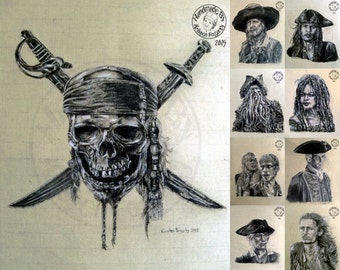 Pirates of the Caribbean, 8x10 Matte PRINT or CUSTOM Charcoal Art  PotC, Jack Sparrow, Davy Jones, Barbossa, Calypso, Turner