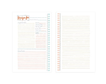 Pink Recipe Binder Refill Set of 10 Pages