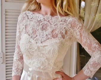 Featured in the Style Me Pretty Fashion & Beauty Magazine 2013 bridal lace top bridal lace bolero