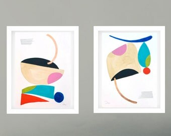 Diptych abstract geometric painting, minimalist colorful modern art, original acrylic abstract art, original abstract painting