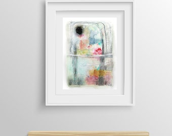 "Contemporary Modern Art - an Original Abstract Painting on watercolor paper 9.4"" x 12.5""."