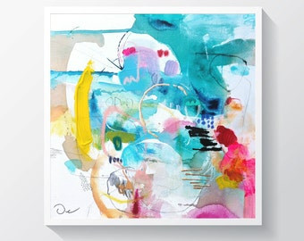 "Abstract painting, Original mixed media painting on canvas, Colorful painting. 15"" x 15"""
