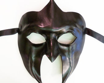Black Leather Mask Gladiator Spartan Roman
