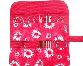 Pink Circular Needle Case, Floral Knitting Needle Holder, Double Pointed Needle DPN Storage, Crochet Hook Organizer, Colored Pencil Pen Roll