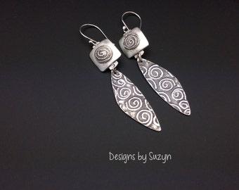 Earrings, silver, tribal, artisan, handmade,  Dangle earrings, swirls, spirals