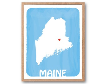 MAINE MAP - Sky Blue - Personalized Custom Color Watercolor Style Love State Map Wedding Birthday Anniversary GIft Children Kids Wall poster