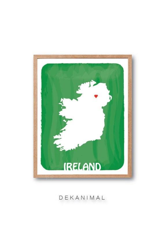 Personalised Wedding Gift Ireland : Ireland MapPersonalized gift, Custom print, Wedding GIft, Birth ...