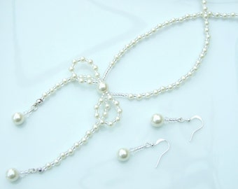 SET - Silver & Ivory White Pearl Bow Pendant Necklace and Earrings Wedding