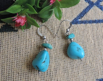 Turquoise Earring Sterling Silver  Southwestern