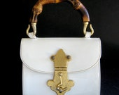 1950s Susan Gail Original White Patent Leather Handbag with Bamboo Handle and Swing Lock Clasp / Rare