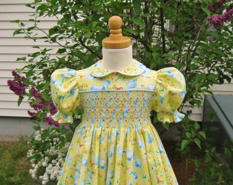 Hand smocked girls yellow dress, size 3 3T, whimsical flowers, butterflies & bees, classic toddler dress, OOAK, party dress ready to ship