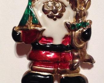 Vintage Christmas Pin Brooch, It's Santa, Enamel on Metal