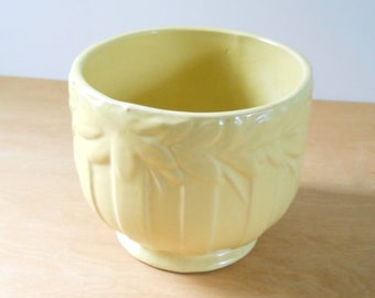 Vintage McCoy Sand Butterfly Jardiniere • Large McCoy Planter Pastel Yellow