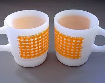 Fire King Coffee Cups, PAIR Yellow Gingham Stacking Mugs, Anchor Hocking Milk Glass Enameled Yellow Check Cups, Yellow Plaid, Vintage 1960s