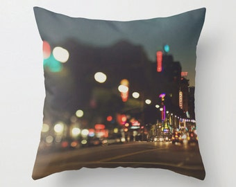 Los Angeles pillow cover, Hollywood pillow, city print, LA decor, California housewares, throw pillow cover, urban loft, home living,  blue