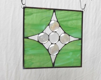 OOAK Stained Glass Quilt Square, Suncatcher, Glass Yard Art, Garden Flag, Housewarming Gift, Stained Glass Panel, Glass Window Treatment